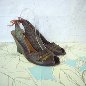 Kenzie Brown Perforated Leather Peep Toe - 8.5 EUC